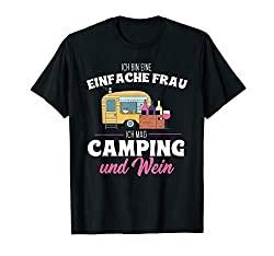 Einfache Frau mag Camping und Wein